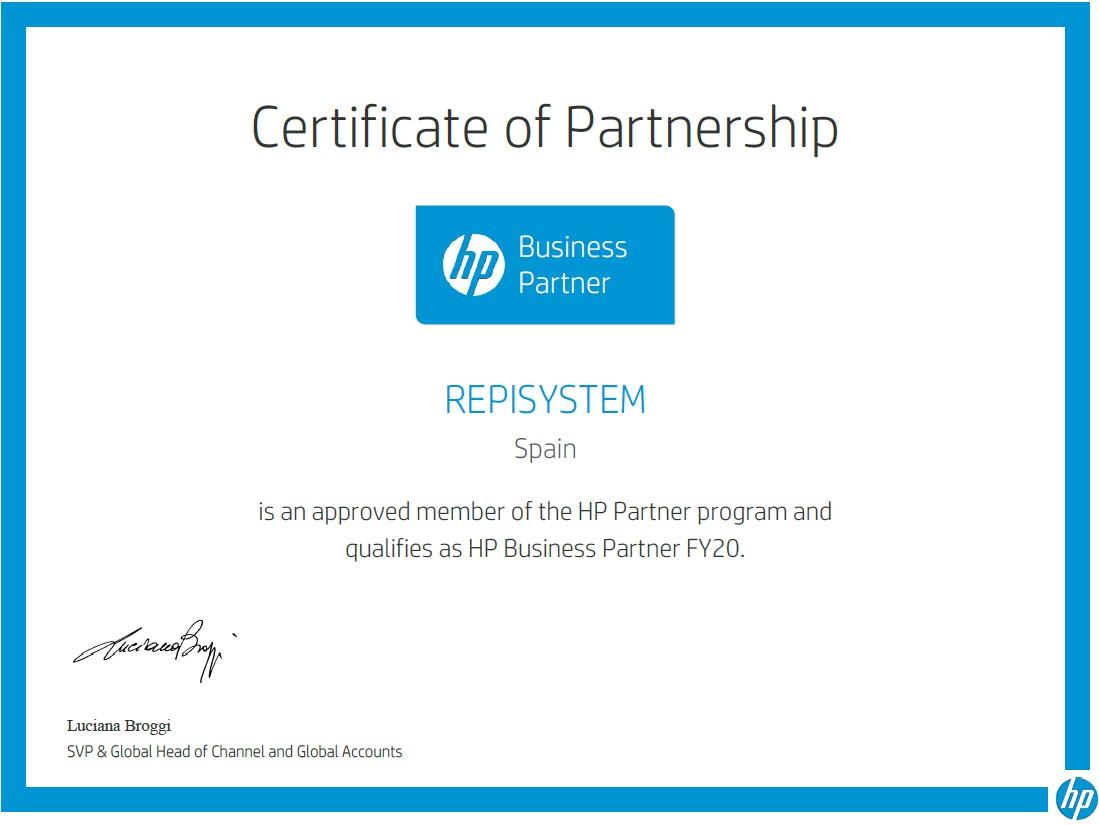 Certificado servicio técnico HP
